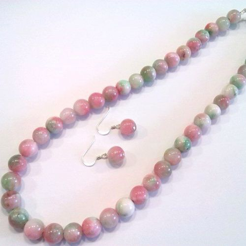 multi-coloured jade necklace